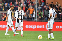 Daniele Rugani, Federico Bernardeschi and Paulo Dybala of Juventus look dejected during the Serie A 2018/2019 football match between Genoa CFC and Juventus FC at stadio Luigi Ferraris, Genova, March 17, 2019 <br /> Photo Andrea Staccioli / Insidefoto
