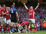 Gethin Jenkins celebrates victory and the Grand Slam at the final whistle..RBS 6 Nations 2012.Wales v France.Millennium Stadium.17.03.12..CREDIT: STEVE POPE-SPORTINGWALES