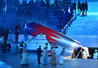 August 12, 2012..A performer drops out of the Cannon during closing ceremony at the Olympic Stadium on the last day of 2012 Olympic Games in London, United Kingdom.