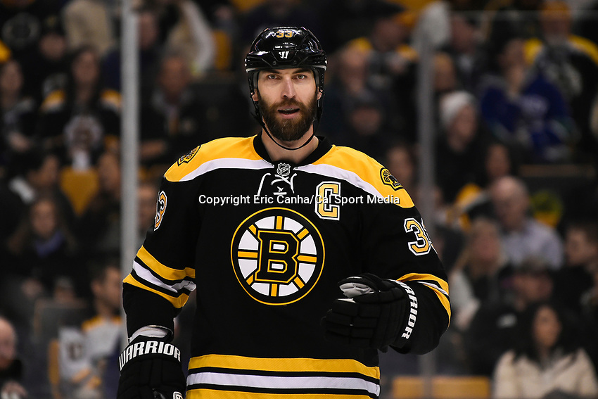 February 24, 2015 - Boston, Massachusetts, U.S. -  Boston Bruins defenseman Zdeno Chara (33) heads to the face off circle during the second period of the NHL match between the Vancouver Canucks and the Boston Bruins held at TD Garden in Boston Massachusetts. Eric Canha/CSM