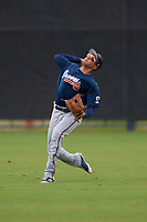 Atlanta Braves Jose Bermudez (7) during practice before a Minor League Spring Training game against the New York Yankees on March 12, 2019 at New York Yankees Minor League Complex in Tampa, Florida.  (Mike Janes/Four Seam Images)