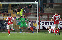 Fleetwood Town's Ashley Eastham puts past Fleetwood Town's Alex Cairns for a own goal<br /> <br /> Photographer Mick Walker/CameraSport<br /> <br /> The EFL Sky Bet League One - Fleetwood Town v Scunthorpe United - Saturday 26th January 2019 - Highbury Stadium - Fleetwood<br /> <br /> World Copyright © 2019 CameraSport. All rights reserved. 43 Linden Ave. Countesthorpe. Leicester. England. LE8 5PG - Tel: +44 (0) 116 277 4147 - admin@camerasport.com - www.camerasport.com