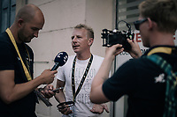 former rider Fabian Wegmann is interviewed as a guest at the Tour<br /> <br /> 104th Tour de France 2017<br /> Stage 16 - Le Puy-en-Velay &rsaquo; Romans-sur-Is&egrave;re (165km)