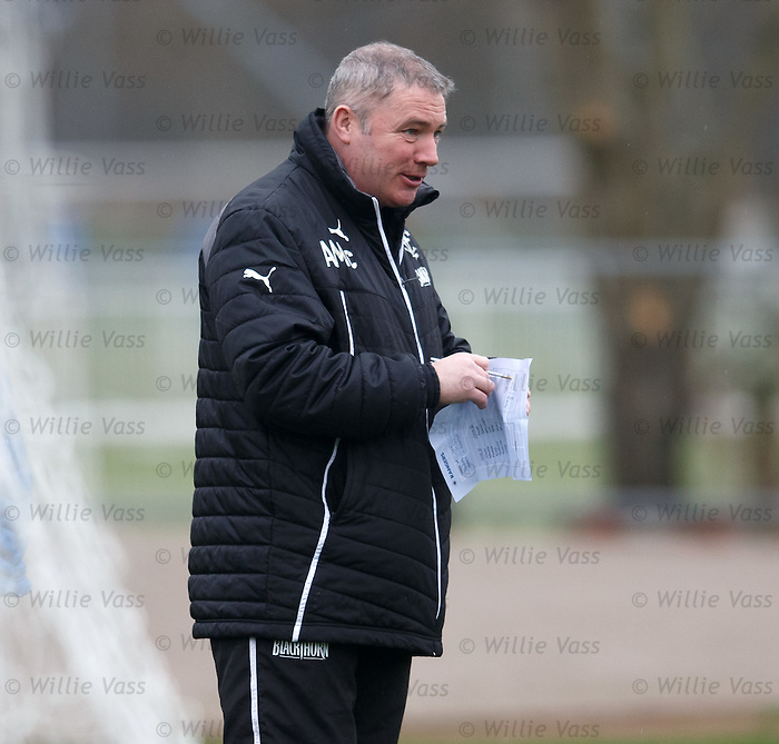 Ally McCoist with his training notes