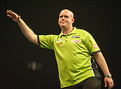 09.04.2015. Sheffield, England. Betway Premier League Darts. Matchday 10.  Michael van Gerwen [NED] frustrated with his score during a game against Stephen Bunting [ENG]