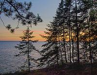 Sunset Glows Through the Trees on the Big Bay State Park Lake Superor Shoreline, Madeline Island, Apost;e Island chain, Ashland County, Wisconsin