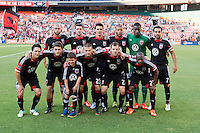 D.C. United lines up before a Major League Soccer match at RFK Stadium in Washington, DC. D.C. United lost to the Vancouver Whitecaps, 1-0.