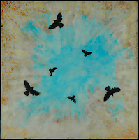 Mixed media photography of murder of crows in cloudy turquoise sky.