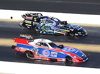 Oct 14, 2019; Concord, NC, USA; NHRA funny car driver Robert Hight (near) alongside Tim Wilkerson during the Carolina Nationals at zMax Dragway. Mandatory Credit: Mark J. Rebilas-USA TODAY Sports