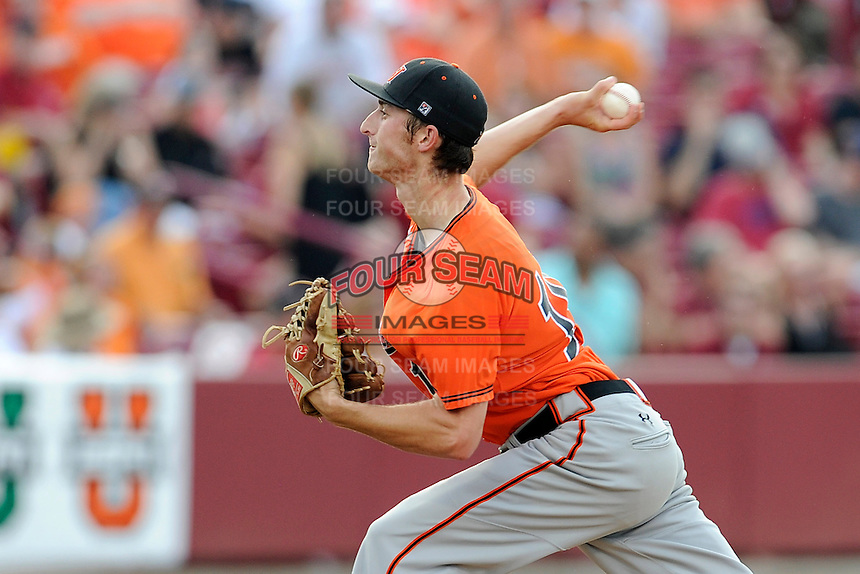 Starting pitcher Heath Bowers (19) of the Campbell Camels delivers a pitch in an NCAA Division I Baseball Regional Tournament game against the South Carolina Gamecocks on Friday, May 30, 2014, at Carolina Stadium in Columbia, South Carolina. South Carolina won, 5-2. (Tom Priddy/Four Seam Images)