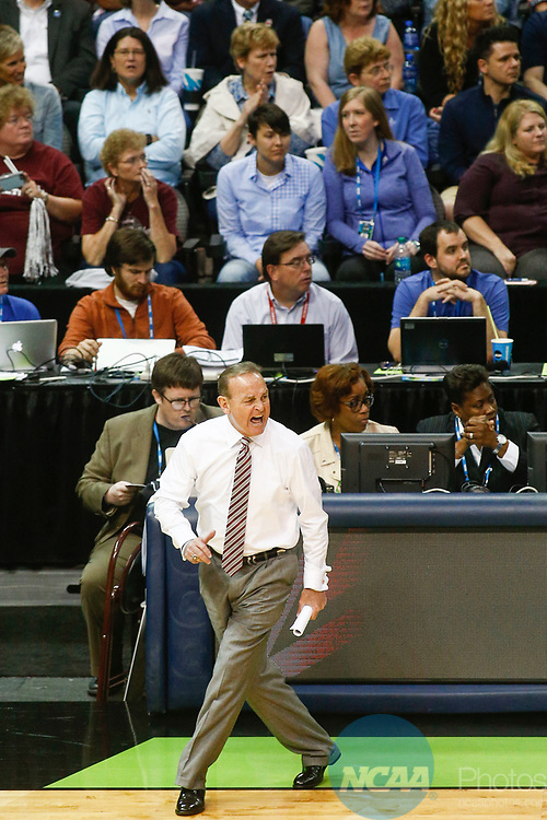 DALLAS, TX - APRIL 2: Head coach Vic Schaefer of the Mississippi State Lady Bulldogs calls to his players during the 2017 Women's Final Four at American Airlines Center on April 2, 2017 in Dallas, Texas. (Photo by Timothy Nwachukwu/NCAA Photos via Getty Images)