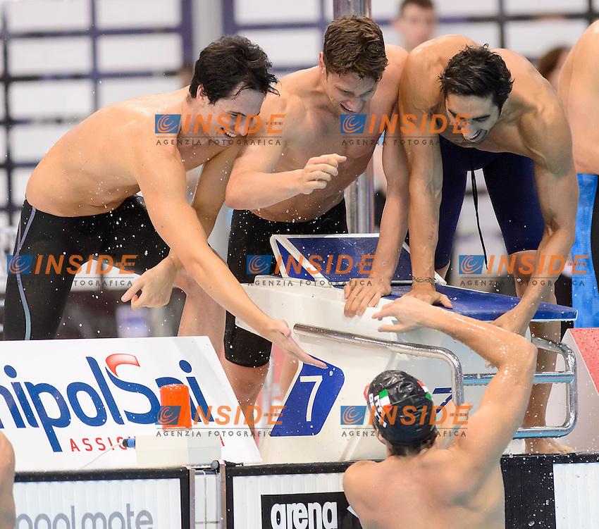 ITALY Bronze Medal <br /> Andrea D'Arrigo Filippo Magnini Luca Dotto Gabriele Detti <br /> 4x200m Freestyle Relay Men<br /> London, Queen Elizabeth II Olympic Park Pool <br /> LEN 2016 European Aquatics Elite Championships <br /> Swimming<br /> Day 13 21-05-2016<br /> Photo Andrea Staccioli/Deepbluemedia/Insidefoto