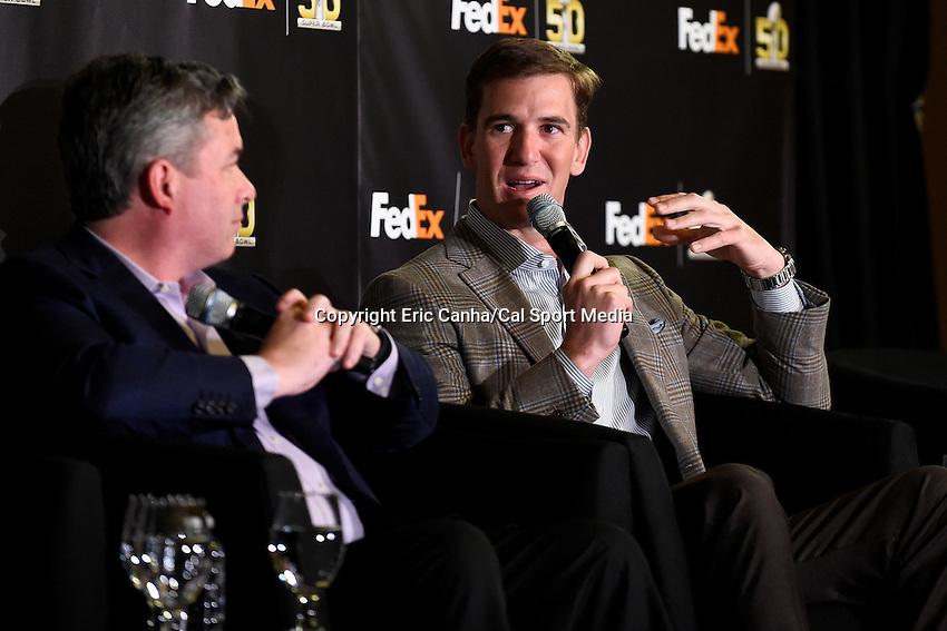 Wednesday, February 3, 2016: NFL Quarterback Eli Manning takes part at a press conference in San Francisco, California during the National Football League week long opening celebrations for Super Bowl 50 between the Carolina Panthers and the Denver Broncos . Eric Canha/CSM