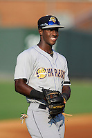 Shortstop Jorge Mateo (2) of the Charleston RiverDogs warms up before a game against the Greenville Drive on Monday, June 29, 2015, at Fluor Field at the West End in Greenville, South Carolina. Greenville won, 4-2. (Tom Priddy/Four Seam Images)