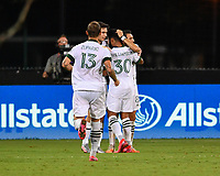 LAKE BUENA VISTA, FL - AUGUST 01: Diego Valeri #8 of the Portland Timbers celebrates his goal with teammates during a game between Portland Timbers and New York City FC at ESPN Wide World of Sports on August 01, 2020 in Lake Buena Vista, Florida.