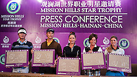 HAIKOU, CHINA - OCTOBER 28:  (L-R) New Zealand golfer Danny Lee, Hollywood actor Matthew McConaughey, Oscar-winning actress Catherine Zeta-Jones, Solheim Cup's captain Rosie Jones of the USA and Spanish golfer Belen Mozo pose with their handprints during a press conference as part of the Mission Hills Star Trophy on October 28, 2010 in Haikou, China. The Mission Hills Star Trophy is Asia's leading leisure liflestyle event and features Hollywood celebrities and international golf stars.  Photo by Victor Fraile / studioEAST
