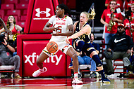 College Park, MD - NOV 29, 2017: Georgia Tech Yellow Jackets guard Lotta-Maj Lahtinen (31) steals the ball away from Maryland Terrapins guard Kaila Charles (5) during ACC/Big Ten Challenge game between Gerogia Tech and the No. 7 ranked Maryland Terrapins. Maryland defeated The Yellow Jackets 67-54 at the XFINITY Center in College Park, MD.  (Photo by Phil Peters/Media Images International)