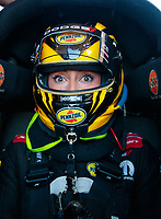 Jul 19, 2019; Morrison, CO, USA; NHRA top fuel driver Leah Pritchett during qualifying for the Mile High Nationals at Bandimere Speedway. Mandatory Credit: Mark J. Rebilas-USA TODAY Sports