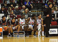 The Bay bench and coach Shawn Dennis watch as they try to overtake the Saints in the dying minutes during the NBL Basketball match between the Wellington Saints and Bay Hawks, TSB Bank Arena, Wellington, New Zealand on Saturday, 10 May 2008. Photo: Dave Lintott / lintottphoto.co.nz