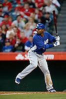Carl Crawford #25 of the Los Angeles Dodgers bats against the Los Angeles Angels in both teams final spring training game at Angel Stadium on March 30, 2013 in Anaheim, California. (Larry Goren/Four Seam Images)