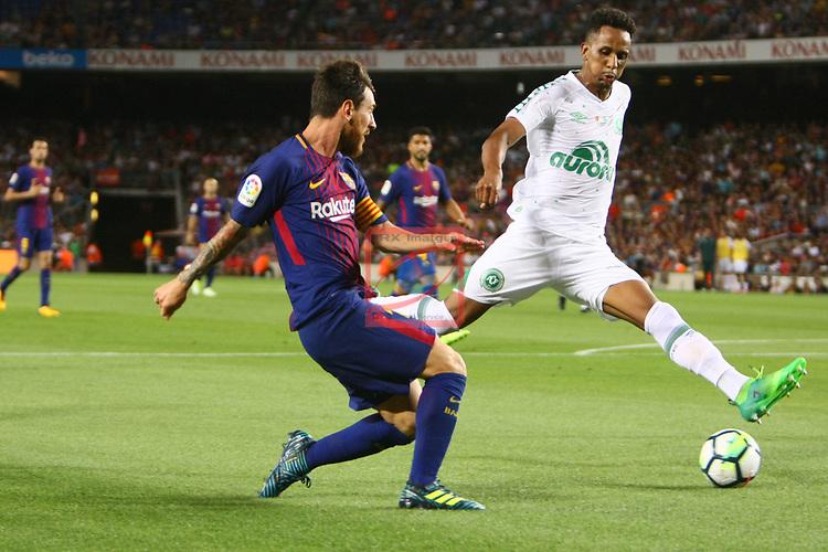 52e Trofeu Joan Gamper.<br /> FC Barcelona vs Chapecoense: 5-0.<br /> Lionel Messi vs Reinaldo.