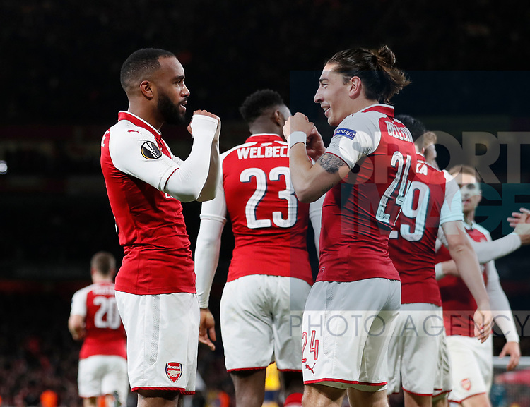 Alexandre Lacazette of Arsenal and Hector Bellerin of Arsenal pretend to box to librate the first goal during the Europa League Semi Final 1st Leg, match at the Emirates Stadium, London. Picture date: 26th April 2018. Picture credit should read: David Klein/Sportimage