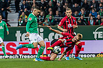 02.11.2019, wohninvest WESERSTADION, Bremen, GER, 1.FBL, Werder Bremen vs SC Freiburg<br /> <br /> DFL REGULATIONS PROHIBIT ANY USE OF PHOTOGRAPHS AS IMAGE SEQUENCES AND/OR QUASI-VIDEO.<br /> <br /> im Bild / picture shows<br /> Milot Rashica (Werder Bremen #07) sprintet auf Tor zu, <br /> Philipp Lienhart (SC Freiburg #03), <br /> <br /> Foto © nordphoto / Ewert
