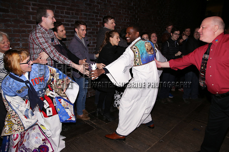 Lisa Gadja and Arbender Robinson during the Actors' Equity Opening Night Gypsy Robe Ceremony honoring Arbender Robinson for 'Shuffle Along' at The Music Box Theatre on April 28, 2016 in New York City.