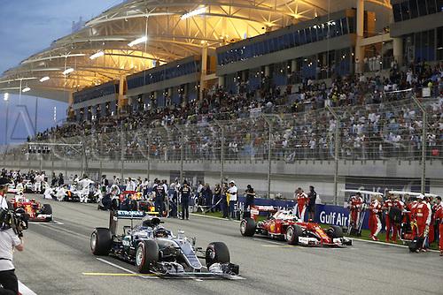 03.04.2016. Sakhir, Bahrain. F1  Grand Prix of Bahrain, 6 Nico Rosberg (GER, Mercedes AMG Petronas Formula One Team), 5 Sebastian Vettel (GER, Scuderia Ferrari)