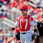 23 August 2018: Washington Nationals catcher Spencer Kieboom in action against the Philadelphia Phillies at Nationals Park in Washington, DC. The Phillies shut out the Nationals 2-0 to take the 3rd game of their 3-game mid-week divisional series. Mandatory Credit: Ed Wolfstein Photo *** RAW (NEF) Image File Available ***