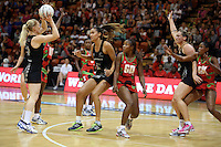 27.10.2013 Silver Fern and Malawi in action during the Silver Ferns V Malawi New World Netball Series played at the Pettigrew Green Arena in Napier. Mandatory Photo Credit ©Michael Bradley.