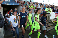 Cary, North Carolina  - Saturday August 05, 2017: Ashley Hatch, Kiersten Dallstream prior to a regular season National Women's Soccer League (NWSL) match between the North Carolina Courage and the Seattle Reign FC at Sahlen's Stadium at WakeMed Soccer Park. The Courage won the game 1-0.