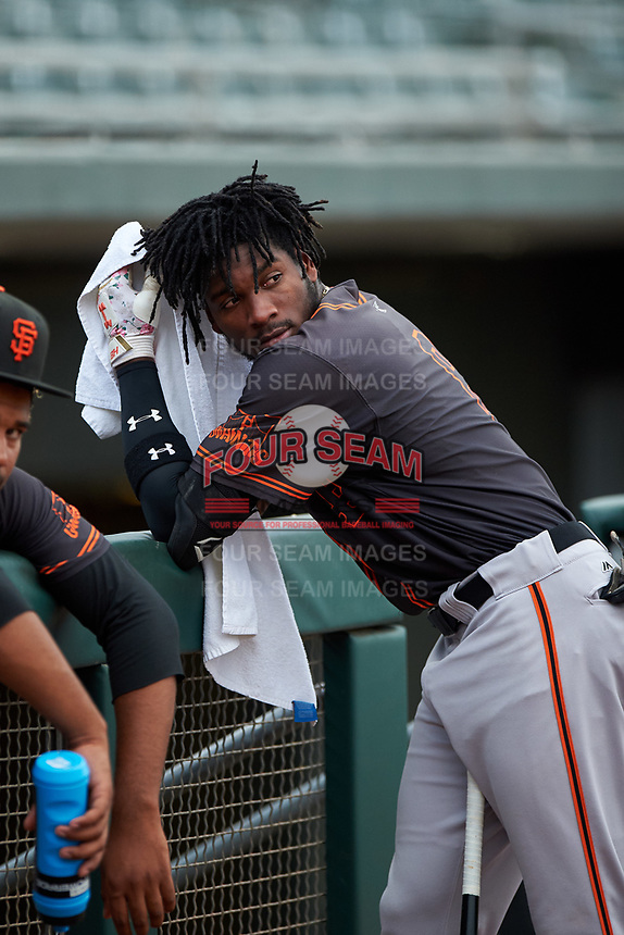 AZL Giants Black Ghordy Santos (8) before an Arizona League game against the AZL Athletics Gold on July 12, 2019 at Hohokam Stadium in Mesa, Arizona. The AZL Giants Black defeated the AZL Athletics Gold 9-7. (Zachary Lucy/Four Seam Images)