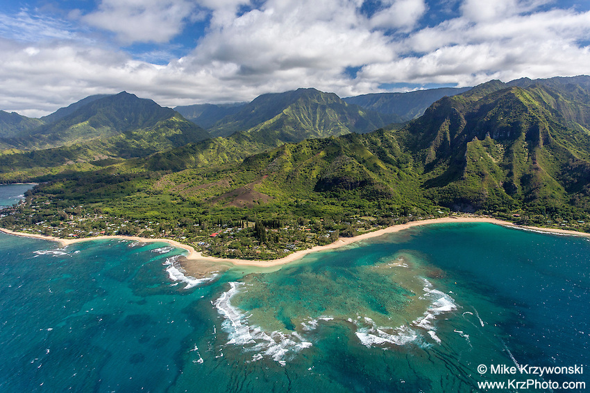 Aerial view of Haena, north shore, Kauai