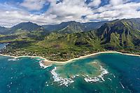 Aerial view of Haena, north shore, Kauai
