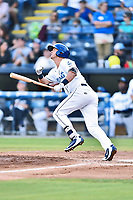 Asheville Tourists third baseman Matt McLaughlin (5) swings at a pitch during a game against the Columbia Fireflies at McCormick Field on August 3, 2018 in Asheville, North Carolina. The Fireflies defeated the Tourists 6-3. (Tony Farlow/Four Seam Images)