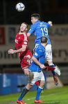 St Johnstone v Aberdeen...23.01.15   SPFL<br /> Gary Miller gets above Adam Rooney<br /> Picture by Graeme Hart.<br /> Copyright Perthshire Picture Agency<br /> Tel: 01738 623350  Mobile: 07990 594431