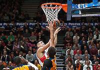 VALENCIA, SPAIN - 05/12/2014. Mitrovic del Estrella Roja y Dubljevic del Valencia Basket durante el partido. Pabellon Fuente de San Luis, Valencia, Spain.
