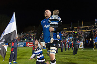 Matt Garvey, kids in hand, leads the Bath Rugby team out onto the field on the occasion of his 100th appearance for the club. Anglo-Welsh Cup match, between Bath Rugby and Leicester Tigers on November 10, 2017 at the Recreation Ground in Bath, England. Photo by: Patrick Khachfe / Onside Images