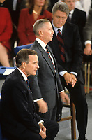 Richmond Virginia. USA, October 15, 1992<br /> President George H.W. Bush (R)  has his turn to answer questions during the 1992 debate held at the University of Richmond.  Other candidates are Ross Perot (I) and Gov. Clinton (D). This was the first &quot;Town Hall&quot; format debate in the history of televised presidential debates. Instead of standing behind lecterns, the candidates sat on stools and walked around the open stage, surrounded on three sides by the audience. It was the first time three candidates shared a single stage in a debate. The major themes included trustworthiness and character, the nation's economic problems and the need for change. Perot's favorite themes: lobbyists and special interests running Washington; managing the huge national debt; and term limits.Acting as moderator was Carole Simpson of ABC NEWS. Credit: Mark Reinstein/MediaPunch