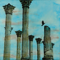 Mixed media encaustic photo transfer of architectural ruins and crow in cerulean blue sky.