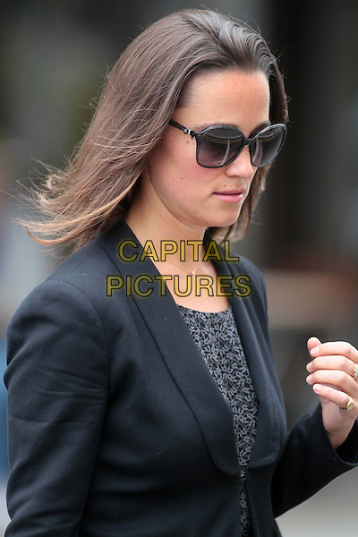Pippa Middleton spotted in London, England..July 20th, 2011.half length black jacket blazer grey gray print dress sunglasses shades profile.CAP/HIL.©John Hillcoat/Capital Pictures.