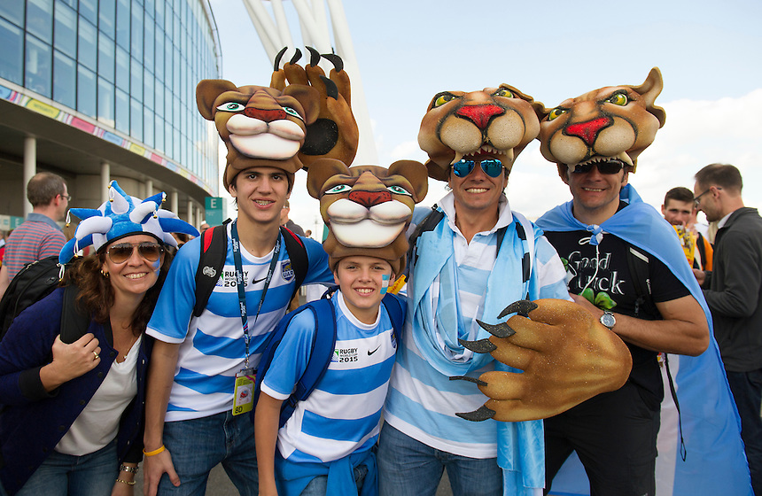 Argentina fans arriving at Wembley<br /> <br /> Photographer Ashley Western/CameraSport<br /> <br /> Rugby Union - 2015 Rugby World Cup - New Zealand v Argentina - Sunday 20th September 2015 - Wembley Stadium - London <br /> <br /> &copy; CameraSport - 43 Linden Ave. Countesthorpe. Leicester. England. LE8 5PG - Tel: +44 (0) 116 277 4147 - admin@camerasport.com - www.camerasport.com