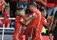 CALI - COLOMBIA, 28-11-2019: Matias Pisano del América celebra después de anotar el primer gol de su equipo partido por la fecha 6, cuadrangulares semifinales, de la Liga Águila II 2019 entre América de Cali e Independiente Santa Fe jugado en el estadio Pascual Guerrero de la ciudad de Cali. / Matias Pisano of America celebrates after scoring the first goal of his team during match for the date 6, quadrangular semifinals, as part of Aguila League II 2019 between America de Cali and Independiente Santa Fe played at Pascual Guerrero stadium in Cali. Photo: VizzorImage / Gabriel Aponte / Staff