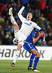 Getafe CF's Jaime Mata (r) and FC Krasnodar's Uros Spajic during UEFA Europa League match. December 12,2019. (ALTERPHOTOS/Acero)