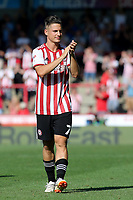 Sergi Canos of Brentford applauds the home fans at the end of the match during Brentford vs Rotherham United, Sky Bet EFL Championship Football at Griffin Park on 4th August 2018