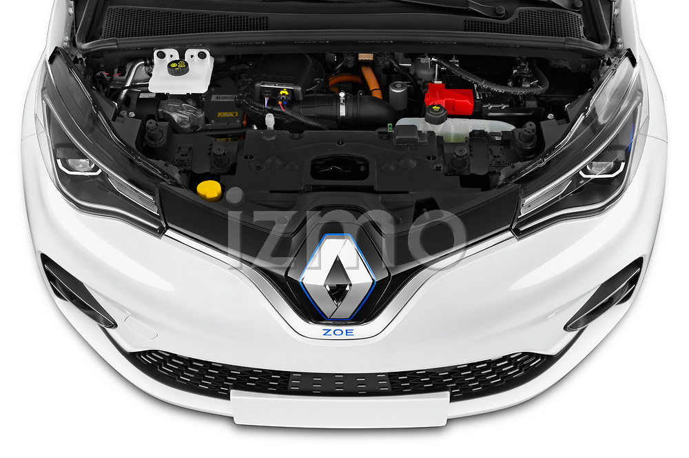 Car Stock 2020 Renault ZOE Edition-One 5 Door Hatchback Engine  high angle detail view