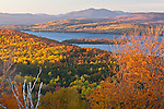 Fall foliage surrounds Rangeley Lake from the Rangeley Scenic Overlook in Rangeley, ME, USA