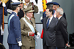 Prince Felipe of Spain, Juan Carlos I King of Spain, Mariano Rajoy President of Goverment of Spain and Pedro Morenes Minister of Defense attend the National Day Military Parad.October 12,2012.(ALTERPHOTOS/Acero)