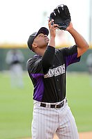 Chris Nelson of the Colorado Rockies plays in a spring training game against the Arizona Diamondbacks at Salt River Fields on February 26, 2011  in Scottsdale, Arizona. .Photo by:  Bill Mitchell/Four Seam Images.